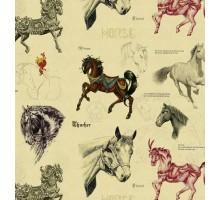 Бумага 1*70 Дизайнерская бумага «Лошадки» 78г/м2