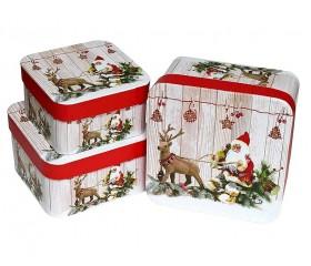 Набор из 3-х коробок квадрат «Новый  Год» 17*17*9,5 см 36 т.м.