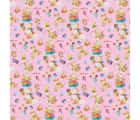 Бумага 1*70 Дизайнерская бумага «Мишки на Розовом» 78г/м2