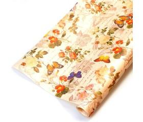 "Бумага крафт цветочная ""Бабочки Ретро"" 70см*10м. 40 г/м2"