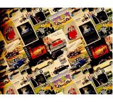 Бумага 1*70 Дизайнерский крафт «Машинки ретро» 78г/м2