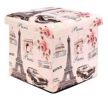 Пуфик/ёмкость для хранения 4-угольный «Париж» 31х31см