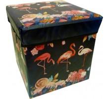 Пуфик/ёмкость для хранения 4-угольный «Фламинго» 31х31см
