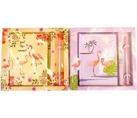 """Блокнот с замком  + ручка """"Фламинго"""" в подарочной упаковке"""
