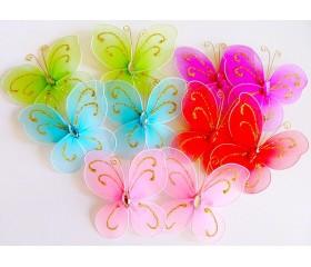 Бабочка тюлевая на прищепке с блёстками 11см