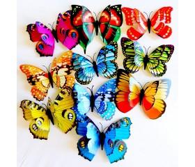 Бабочка пластиковая 2х слойная на прищепке 16см