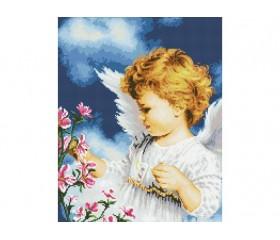 Алмазная мозайка « Ангелок с цветами» 30х40