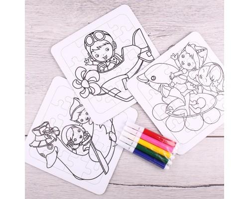 Набор с фломастерами Пазл-раскраска