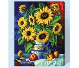 Картина-раскраска по номерам «Натюрморт с подсолнухами»