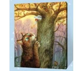 Картина-раскраска по номерам «Кот и ангел»