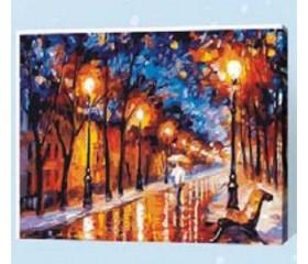 Картина-раскраска по номерам «Вечерняя алея»