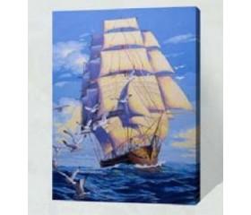 Картина-раскраска по номерам «Фрегат и чайки»