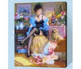 Картина-раскраска по номерам «Дама с собачкой»