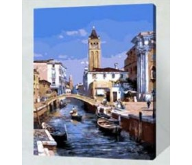 Картина-раскраска по номерам «Речной канал»