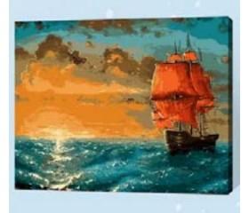 Картина-раскраска по номерам «Алые паруса»