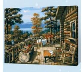 Картина-раскраска по номерам «Дом в лесу»