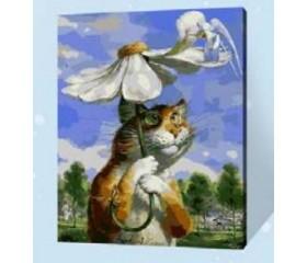 Картина-раскраска по номерам «Кот под ромашкой»