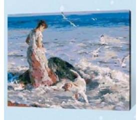 Картина-раскраска по номерам «Прогулка с собакой»