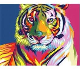 Картина-раскраска по номерам «Красочный тигр»
