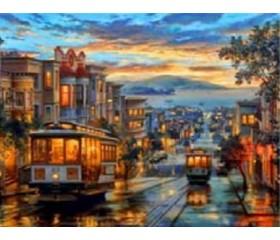 Картина-раскраска по номерам «Вечерний трамвай»