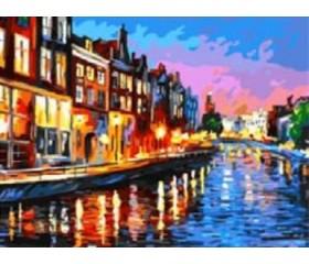 Картина-раскраска по номерам «Огни в ночи»