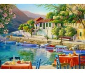 Картина-раскраска по номерам «Прибрежное кафе»