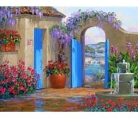 Картина-раскраска по номерам «Дворик с фонтаном»