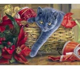 Картина-раскраска по номерам «Кот в корзине»
