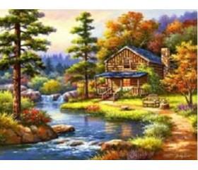 Картина-раскраска по номерам «Домик на реке»