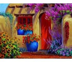 Картина-раскраска по номерам «Цветочное патио»