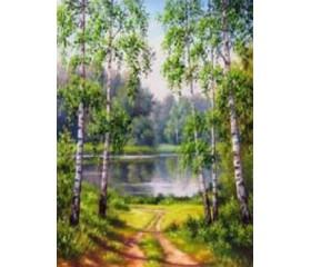 Картина-раскраска по номерам «Дорога к озеру»