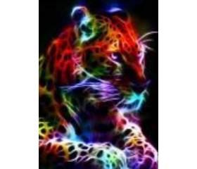 Алмазная мозайка «Радужный леопард» 30х40