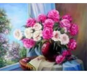 Алмазная мозайка «Пионы у окна» 30х40