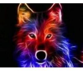 Алмазная мозайка «Огненный волк» 30х40