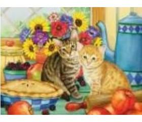 Алмазная мозайка «Котята на кухне» 30х40
