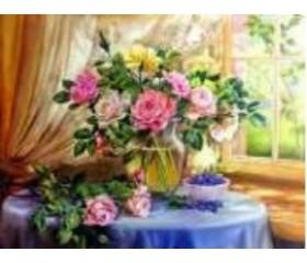 Алмазная мозайка «Розы на столе» 30х40