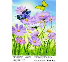 "Картина по номерам 30x40 ""Бабочки,цветочки"""