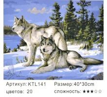 "Картина по номерам 30x40 ""Волки зимой"""
