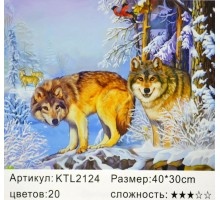 "Картина по номерам 30x40 ""Волчья охота"""