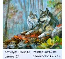 "Картина-раскраска по номерам 40x50 ""Волчья свадьба"""