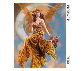 """Картина-раскраска по номерам 40x50 """"Золотая фея"""""""