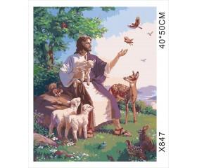"Картина-раскраска по номерам 40x50 ""Иисус и зверюшки"""