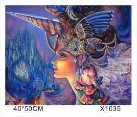 "Картина-раскраска по номерам 40x50 ""Девушка-единорог"""