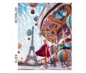 """Картина-раскраска по номерам 40x50 """"Карусель в Париже"""""""