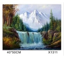 """Картина-раскраска по номерам 40x50 """"Водопад"""""""
