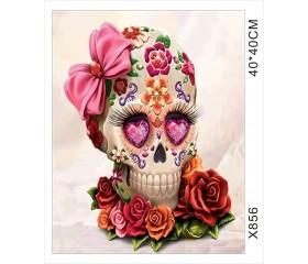 """Картина-раскраска по номерам 40x50 """"Весёлый череп"""""""