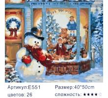 "Картина-раскраска по номерам 40x50 ""Снеговик у витрины"""
