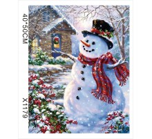"""Картина-раскраска по номерам 40x50 """"Снеговик"""""""