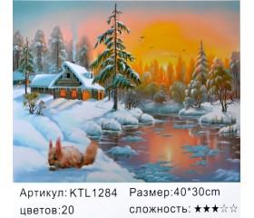 """Картина по номерам 30х40 """"Белочка зимой"""" KTL1284"""