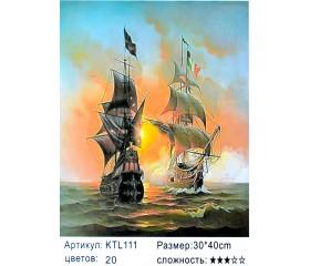 "Картина по номерам 30х40 ""Морской бой"" KTL111"